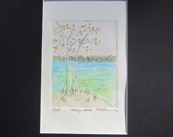 Original Hand colored etching of Holly Lake