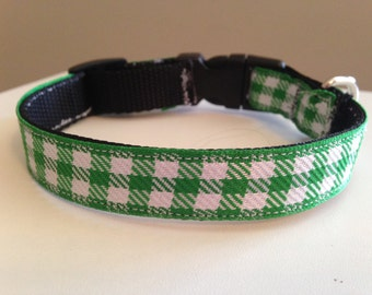 Green and White Plaid Dog Collar 5/8 inch