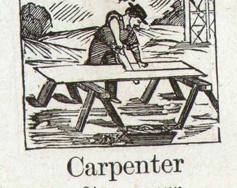 Carpenter Mennonite Children's Picture Dictionary 1890 Vintage Victorian Engravings Great For Scrapbooking 144