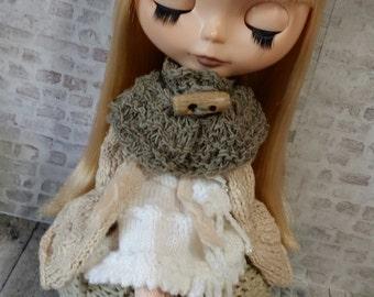 """Blythe @home - Chunky knit capelet PDF pattern for 12"""" Blythe doll"""