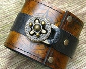 Steampunk Leather Wrist Wallet Cuff with Secret Pocket  for Men & Women - World Map Traveler