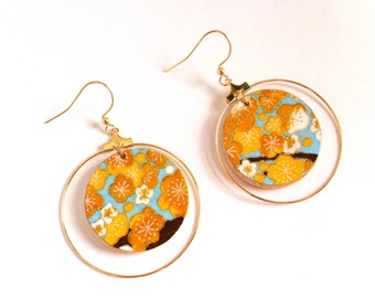 Blue and Brown Cherry Blossom With Gold Ring -Wood Origami Paper Earrings