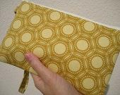 WEDDING CLUTCH gift pouch 2 pockets bridesmaids wristlet zipper - Opal in gold