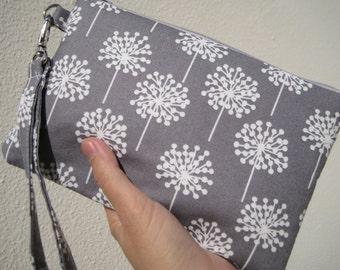 WEDDING CLUTCH, gift pouch, 2 pockets, bridesmaids, flower girl, gift - Gray dandelion