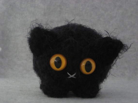 Crocheted black plush kitty from dorklandia so soft with unique custom safety eyes in color of your choice