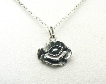 Poppy Flower Sterling Silver Charm Necklace Nature Botanical Jewelry Tiny Charm