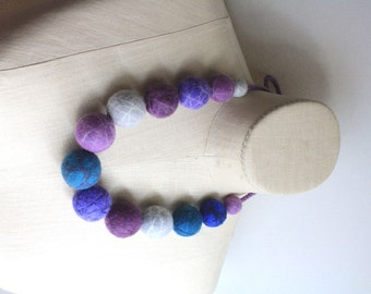 Felted Big Baller Necklace - Purple/Gray