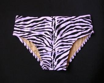 Black and White Zebra Print Mens Swim Brief Swimsuit in S.M.L.XL