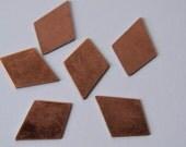 6 vintage copper kite blanks - pendant - earrings - enamel