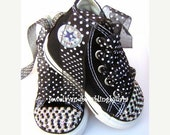 Reserved for ERICA rush Swarovski Converse Baby Bling Crystal Black and White Converse Hi-Top Sneakers