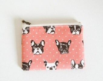 mini zipper pouch  - French bulldog pink