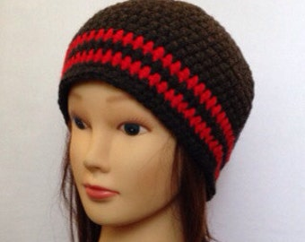 Striped Beanie in dark grey with 2 red stripes - Unisex - Small, medium or large