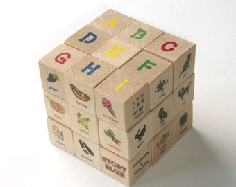 BittyBlox - Small Illustrated Alphabet Block Set - 26 Blocks with Themed Symbols