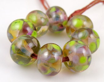 Purple Lime - Handmade Artisan Lampwork Glass Beads 8mmx12mm - Green, Blue, Purple - SRA (Set of 8 Beads)