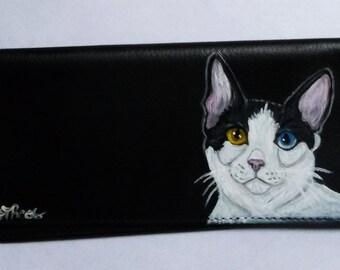 Japanese Bobtail Cat Custom Hand Painted Leather Checkbook Cover checkbook Holder