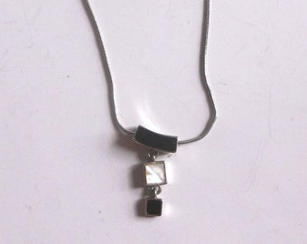 Sterling Silver Vintage Necklace Onyx Mother of Pearl Stones FINAL SALE