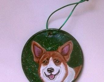 Welsh Corgi Dog Custom Painted Ceramic Christmas Ornament Decoration