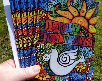 Christmas Cards - Set of 6 by Artist - Peace Dove / Happy Holidays - 5X7 with White Envelopes - Professionally Printed