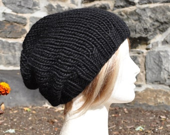 Black Knit Hat - Wool Ribbed Slouchy Knit Hat for Adults or teens - Unisex Hat - Black Hat - Slouch Hat - Men's Hat