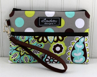 Padded Wristlet Mini Purse- Dot & Harvest Bloom