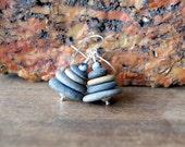 Cairn Stone Earrings - beach stone earrings - beach pebble earrings  - Cairn Jewelry - Stacked Stone Earrings - Zen Spiritual - boho fashion