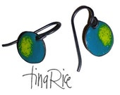 Teal and Lime Green teeny tiny drops artisan enamel earrings by tina rice