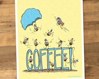 Coffee Beans Caffeine Illustration 8 x 10 Funny food print for the Kitchen