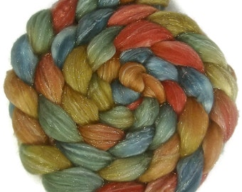Handpainted Glitter Roving Superwash Merino/Gold Stellina - 4 oz. EARTHEN HUES - Spinning Fiber