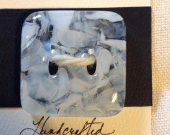 Glass Button snowflake white- large