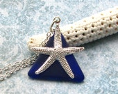 Starfish Necklace Vibrant Blue Stained Glass