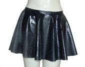 "Black Rubber Skating Skirt Circular Mini, Size M/L (30-34"" / 76 to 86cm Waist) Latex/Silicone Mix"