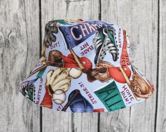 Kids Child Children Reversible Fabric Bucket Hat Take Me Out to the Ball Game
