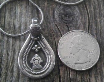 """Pretty Floral Indian Pendant on Snake Chain, Teardrop with Flower, Sterling Silver. Stamped. 16"""" Chain."""