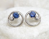 Blue Sapphire & Diamond Earrings - Art Nouveau Style - Eco 18k White or Yellow Gold - Chatham or Fair Trade Natural Sapphire