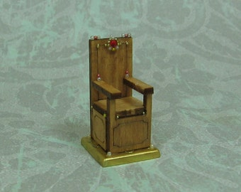 Dollhouse Miniature Medieval Wood Throne Figurine with Red Crystal