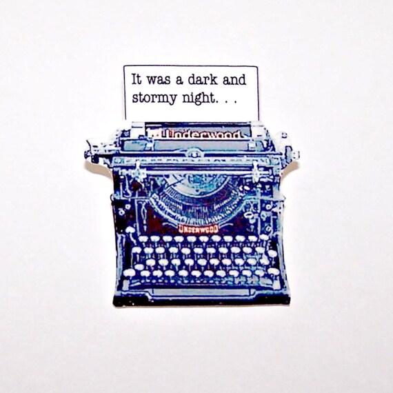 Dark and Stormy Night Typewriter Mystery Pin