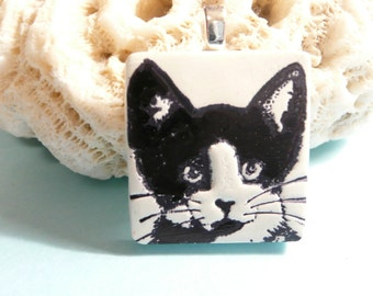 Cute Cat Jewelry, Tuxedo Cat Pendant, Cat Lover Gift, Black and White Cat, Kitty Face, Optional Ball Chain Necklace