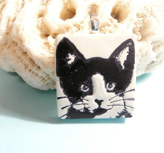 Cute Cat Jewelry, Tuxedo Cat Pendant, Black and White, Kitty Face, Optional Ball Chain Necklace