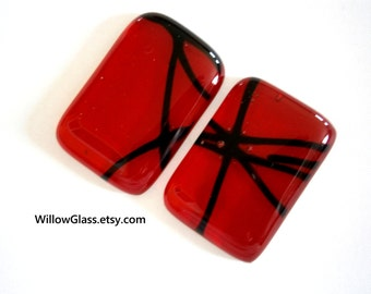 Fused Glass Cabochons 2 in Ruby Red, Black, Glass Cabochon, Glass Cab, Willow Glass