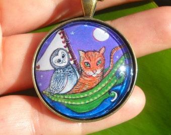 Owl and the Pussycat art necklace gift for girls women whimsical art jewelery glass tile bronze pendant folk art jewelery