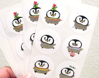 Penguin Stickers - 30 labels 1.5 inch size - STKM079