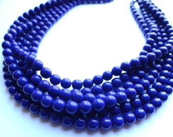 The Michelle- Dark Blue Czech Glass Statement Necklace