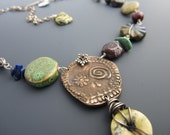 SALE Day of the Dead Bronze and Gemstone ARtisan Necklace