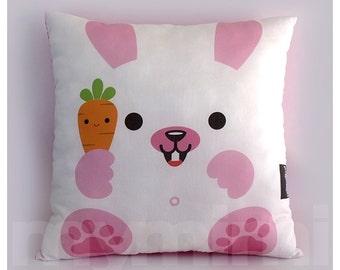 "12 x 12"" Kids Pillow, White Bunny, Stuffed Toy, Decorative Pillow, Kids Play Room Decor, Children's Cushion"