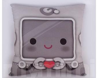 """16 x 16"""" Robot Heart Decorative Pillow, Kids Throw Pillow, Kawaii Robot, Children's Cushion, Kids Bedroom, Boys Room Decor"""