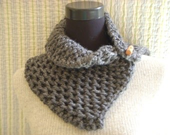 Slate Gray Tweed Textured Cowl Hand Knit Chunky Rustic Neck Warmer with Wood Toggle Button