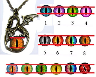 Glass Eye Pendant - Flying Dragon 2 - Pick your Eyeball Design with 20 inch Chain