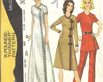 70's McCalls 3061 Misses Evening or Day Dress, Pants Vintage Sewing Pattern Half Size 22 Bust 45