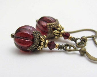 Red Earrings -  Garnet Red Earrings - Dark Red Melon Glass - Victorian Christmas Jewelry - Holiday Jewelry - Hawaiian Jewelry - Hawaii Beads