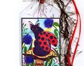 Fairy Cat Bookmark Ladybug Cat Bookmarker Winged Cat Painting Logan Mushroom Whimsical Cat Art Mini Bookmark Gift For Cat Lover